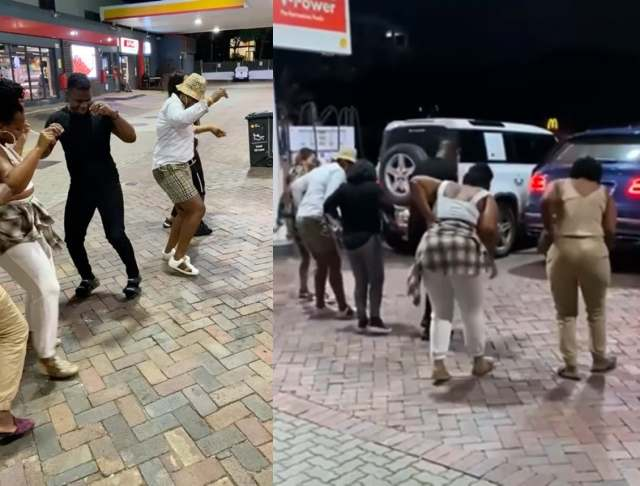 Shauwn Mkhize and her family dancing at a petrol station