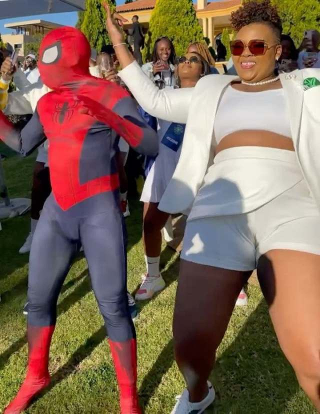 Spider-Man shows up at Anele Mdoda's birthday party and it was lit